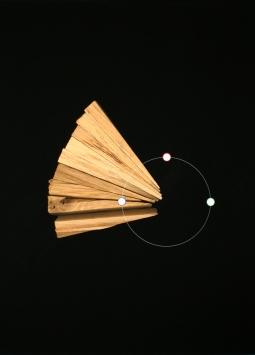 Circular sector shaded in wood